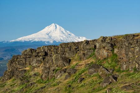 Volcanic cliffs of the Columbia Gorge with Mt Hood