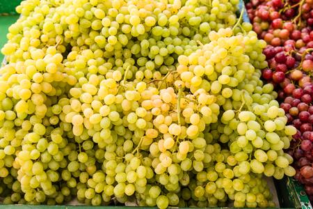 Fresh yellow grapes at the farmers market