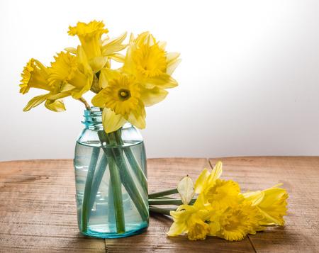 Arrangement of yellow dafodills in blue jar Banco de Imagens