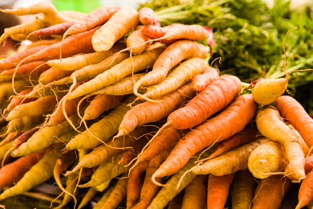 Orange carrots at the farmers market