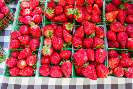 Fresh red ripe strawberries at the farmers market