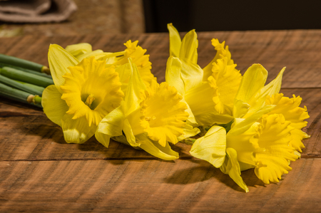 Bouquet of yellow dafodills on wooden table