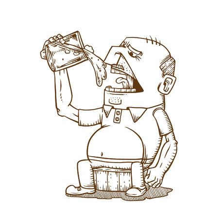 Old man drink beer.