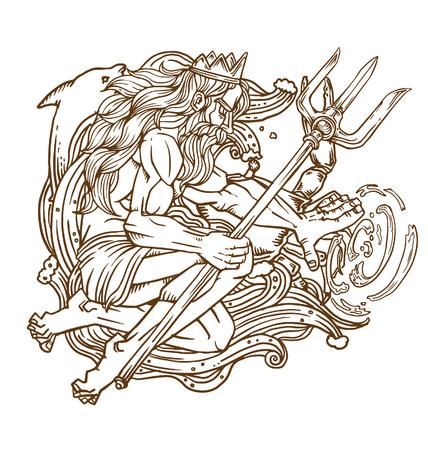 Poseidon, Gott des Meeres Vektorgrafik