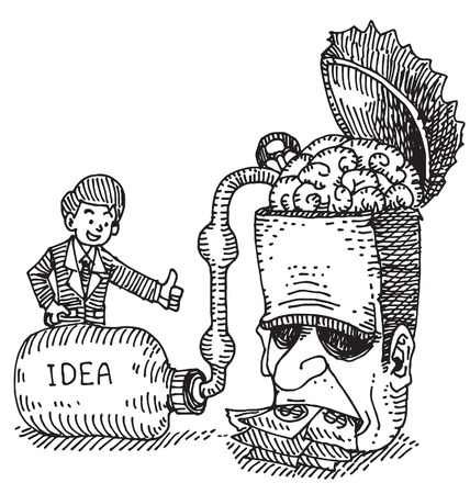 cheat: Businessman adsorb the idea from humans head Illustration