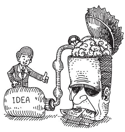 Zakenman adsorbeert het idee van het hoofd van de mens