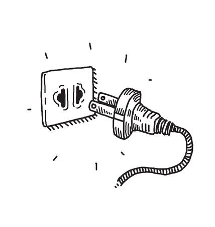 Plug, Doodle drawing Illustration