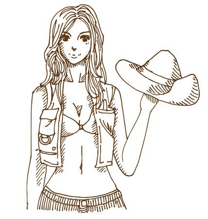 Cow girl Illustration