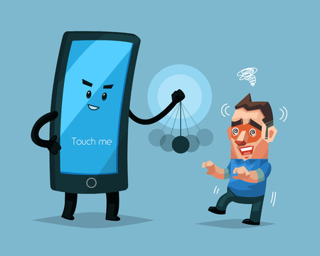 Cellphone character hypnotizes a man, Sign and symbol vector illustration. Illustration