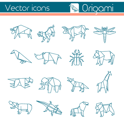 Animal origami, Vector icons. Çizim