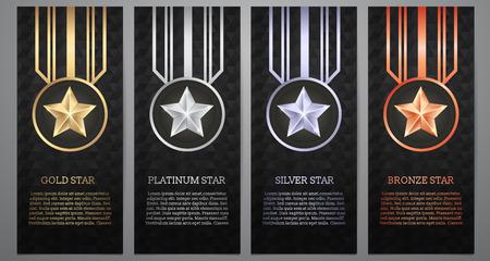 Ensemble de bannière noire, or, platine, argent et étoile de bronze, illustration vectorielle. Vecteurs