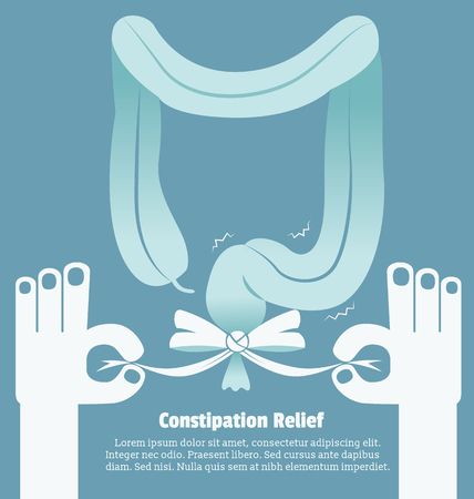 large bowel: Constipation relief, Sign and symbol