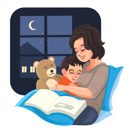 Mother tell story with her son at night, Vector illustration. Stock Illustratie