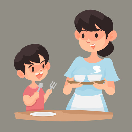 Mother dish up her son with food, Vector illustration. 向量圖像
