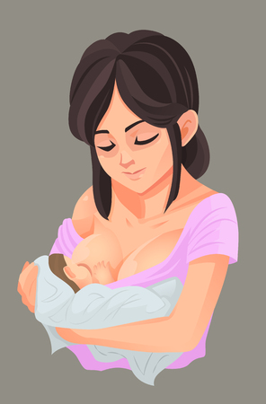 Mother breastfeeding her baby, Vector illustration  イラスト・ベクター素材