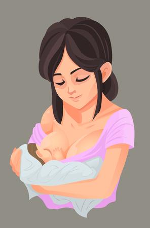 Mother breastfeeding her baby, Vector illustration Stock Illustratie