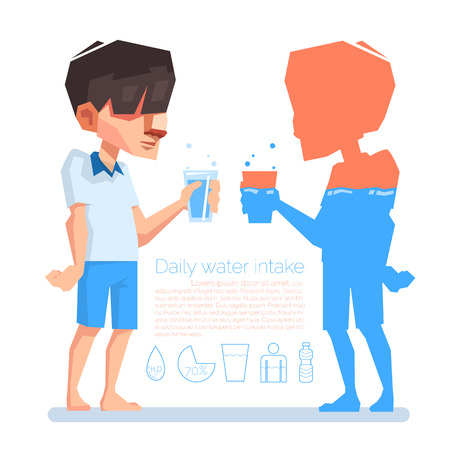 A man hold a glass in his hand, Daily water intake, Vector info-graphic illustration.
