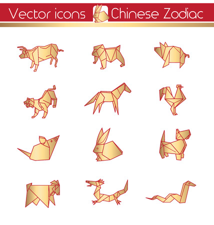 Chinese zodiac, Gold origami, Vector icons.