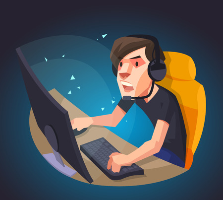 A man play the computer game, Vector illustration.
