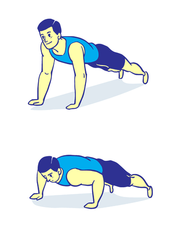 Man push up in two step, Simple vector illustration.