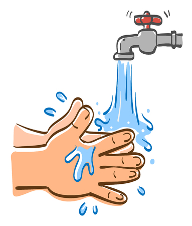 Cleaning hands with water, Vector graphic illustration.