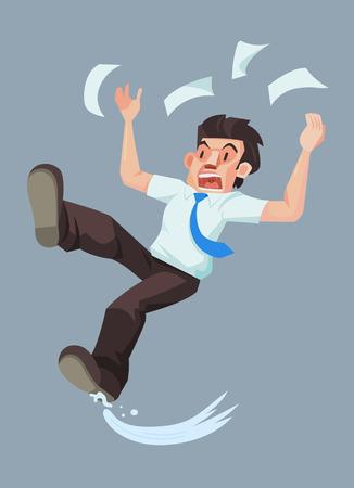 Man glijdt en valt op de natte vloer, Vector illustratie. Vector Illustratie