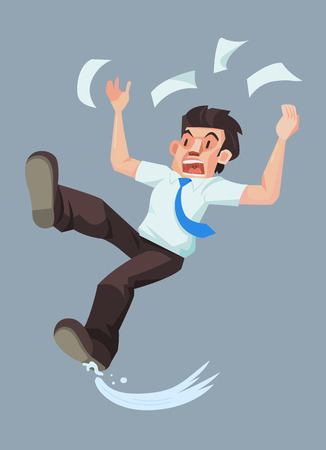 Man slip and falling on the wet floor, Vector illustration. Иллюстрация