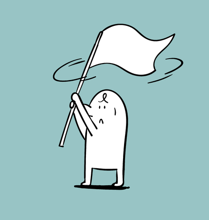 Simple man flap the white flag, Doodle vector illustration.