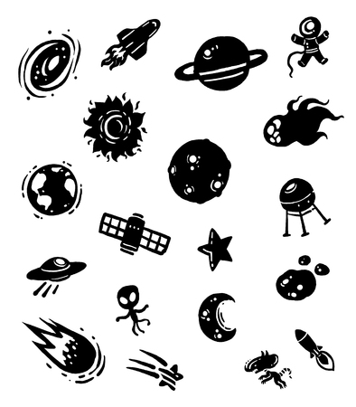 Silhouette space icon, Doodle vector icon.