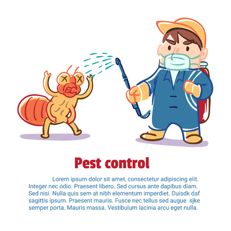 A man kill an insect by chemical, Pest control, Vector illustration.