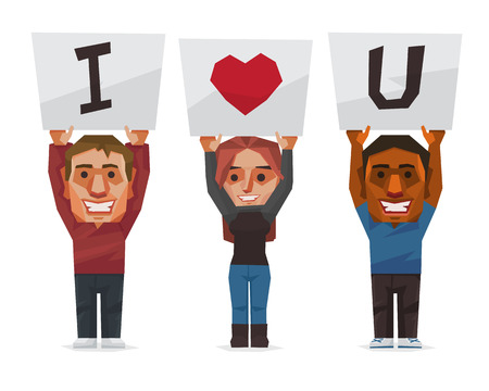 People show the sign of I love you word, Vector illustration.