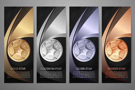 Zestaw czarny sztandar, złoto, platyna, srebro, brąz, Illustraion wektor.