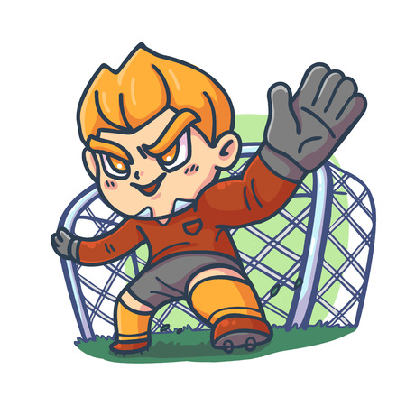 The goalkeeper, Character cartoon, Vector illustration.