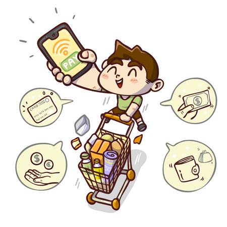 Payless shopping, Cartoon vector illustration.