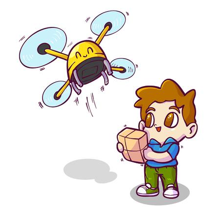 Drone delivery, Cartoon vector illustration.