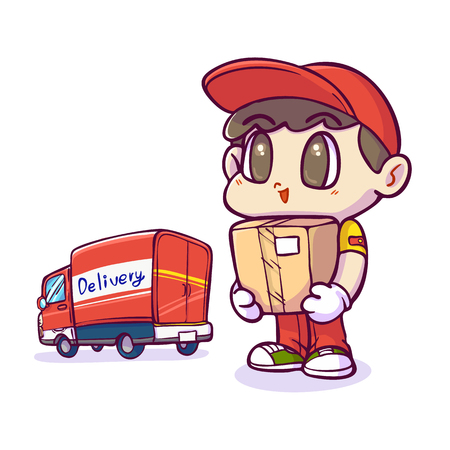 Delivery man and package, Shipping and transportation, Vector illustration. Ilustracja
