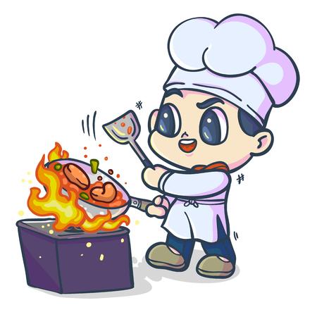 the chef cook his food, Cartoon vector illustraion