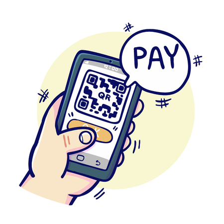Paying by scan the QR code, vecotr illustration.
