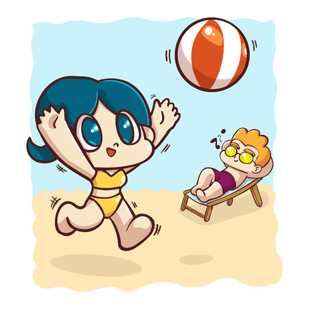 The girl play the volleyball on the beach, Cartoon vector illustration.