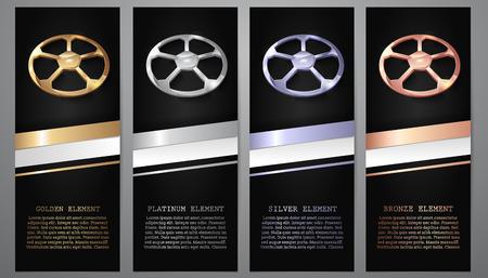 Calcio oro, platino, argento, bronzo in striscioni neri.