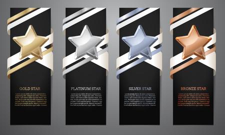 Ensemble de bannières noires, étoiles d'or, de platine, d'argent et de bronze, illustration vectorielle.