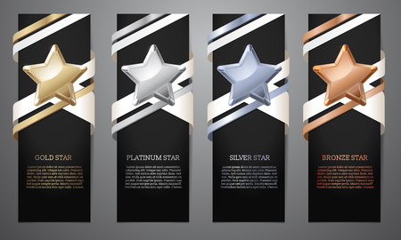 Set of black banners, Gold, platinum,silver and bronze star, Vector illustration.