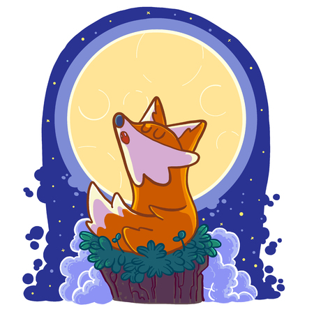 Wolf in the moon, Cartoon vector illustration.