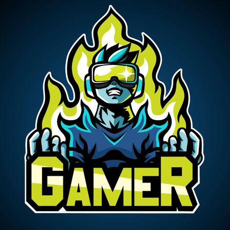 Gamer, Mascot logo, Sticker design, Vector illustration. 向量圖像