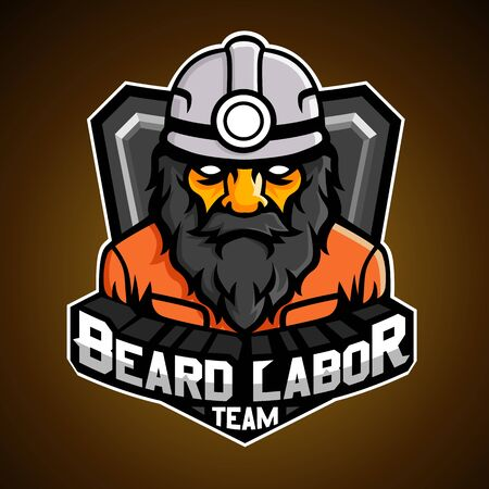Beard labor, Mascot logo, Vector illustration. 向量圖像