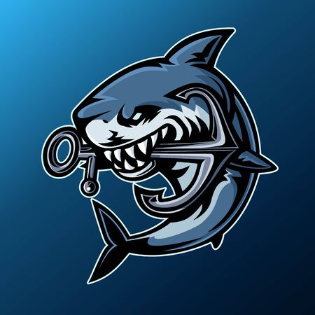 Shark, Mascot logo, Vector illustration.