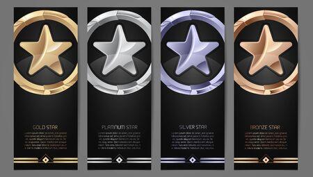 Ensemble de bannières noires, étoile d'or, de platine, d'argent et de bronze, illustration vectorielle