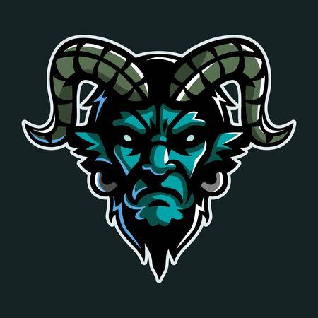 Goat man, Mascot logo, Sticker design, Vector illustration.