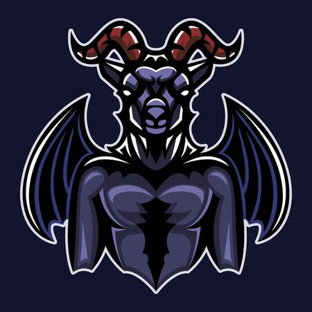 Devil goat, Mascot logo, Sticker design, Vector illustration.