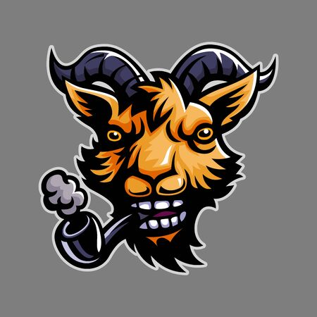 Goat, Mascot logo, Sticker design, Vector illustration.